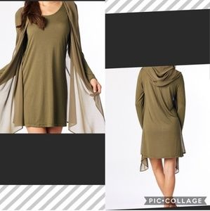 Hooded tunic dress with sheer overlay
